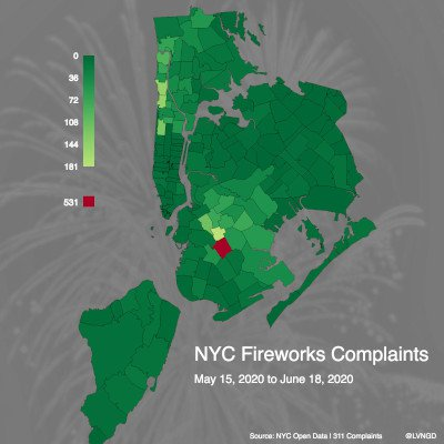 NYC map of firework complaints by zip code