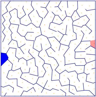 Voronoi diagram maze initial image with entrance and exit marked